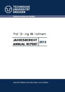 JAHRESBERICHT 2013 ANNUAL REPORT