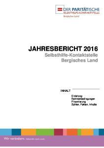 JAHRESBERICHT 2016 Selbsthilfe-Kontaktstelle Bergisches Land
