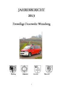 JAHRESBERICHT Freiwillige Feuerwehr Weinsberg. Weinsberg. Wimmental