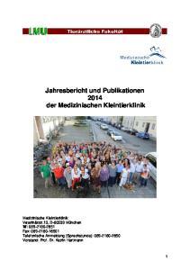 Jahresbericht und Publikationen 2014 der Medizinischen Kleintierklinik