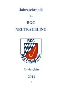 Jahreschronik BGC NEUTRAUBLING