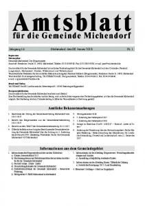 Jahrgang 16 Michendorf, den 08. Januar 2018 Nr. 1