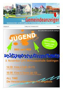 Jahrgang 23 Freitag, den 2. November 2012 Nr. 44. KINO 4 FREE Vereine zum Anfassen