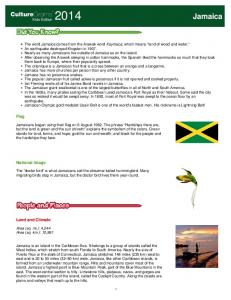 Jamaica. CultureGrams. Flag. National Image. Land and Climate. Kids Edition