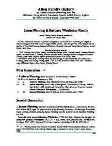 James Fleming & Barbara Windecker Family. James Fleming Family data was compiled by James Allen Halley, 2006