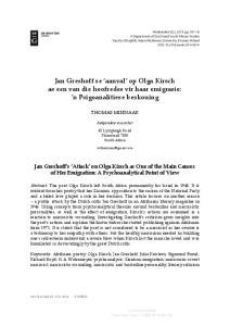 Jan Greshoff se aanval op Olga Kirsch as een van die hoofredes vir haar emigrasie: n Psigoanalitiese beskouing