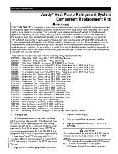 Jandy Heat Pump Refrigerant System Component Replacement Kits