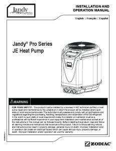 Jandy Pro Series JE Heat Pump