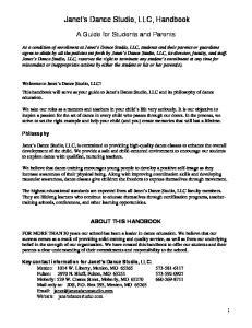 Janet s Dance Studio, LLC, Handbook