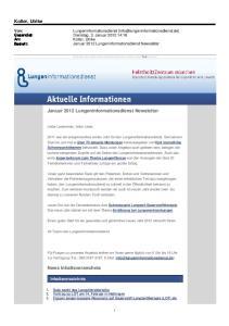 Januar 2012 Lungeninformationsdienst Newsletter