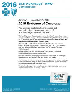 January 1 December 31, Evidence of Coverage