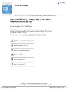 Japan and identity change: why it matters in International Relations