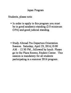 Japan Program. Students, please note: