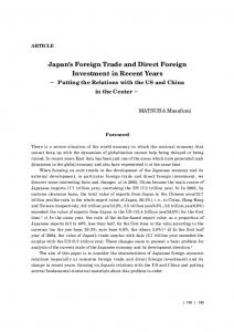 Japan s Foreign Trade and Direct Foreign Investment in Recent Years