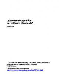 Japanese encephalitis surveillance standards*
