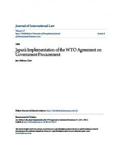 Japan's Implementation of the WTO Agreement on Government Procurement