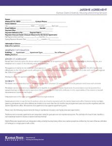 JARDINE AGREEMENT Kansas State University Housing and Dining Services