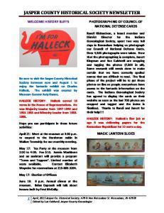 JASPER COUNTY HISTORICAL SOCIETY NEWSLETTER
