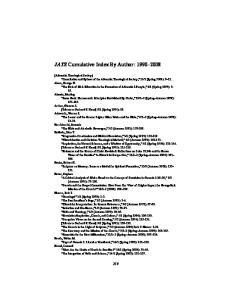 JATS Cumulative Index By Author: