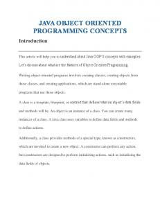 JAVA OBJECT ORIENTED PROGRAMMING CONCEPTS