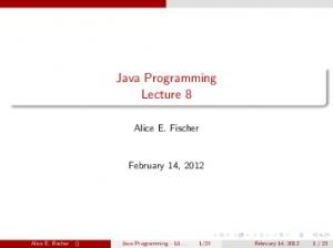Java Programming Lecture 8