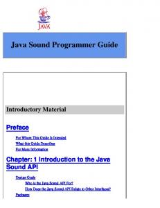 Java Sound Programmer Guide