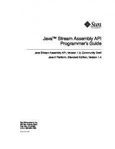 Java Stream Assembly API Programmer s Guide