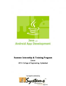 Java with Android App Development