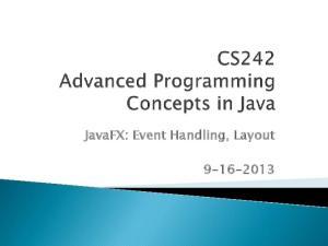 JavaFX: Event Handling, Layout