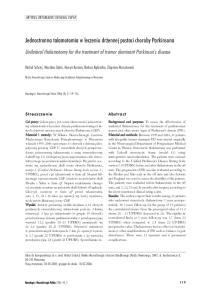 Jednostronna talamotomia w leczeniu dr ennej postaci choroby Parkinsona