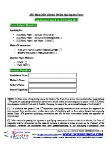 JEE Main 2014 (Demo) Online Application Form. Application Form For JEE(Main)-2014