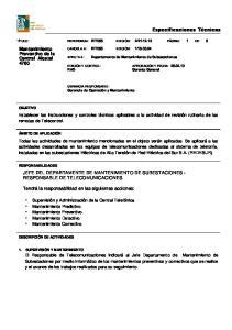 JEFE DEL DEPARTAMENTE DE MANTENIMIENTO DE SUBESTACIONES - RESPONSABLE DE TELECOMUNICACIONES