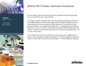 Jefferies 2015 Global Healthcare Conference