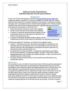 Jefferson County School District: Individual Educator Growth Goals Guidance. Background