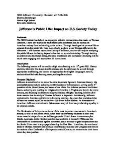 Jefferson s Public Life: Impact on U.S. Society Today