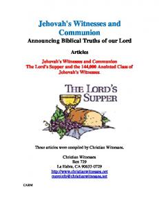 Jehovah's Witnesses and Communion