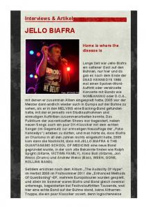 JELLO BIAFRA. Interviews & Artikel. Home is where the disease is