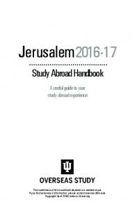 Jerusalem Study Abroad Handbook. A useful guide to your study abroad experience