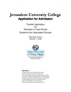 Jerusalem University College Application for Admission