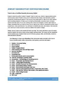 JEWELRY FASHION STYLIST CERTIFICATION COURSE
