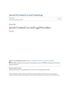 Jewish Criminal Law and Legal Procedure