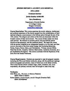 JEWISH HISTORY I: ANCIENT AND MEDIEVAL SYLLABUS