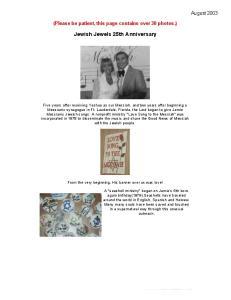 Jewish Jewels 25th Anniversary
