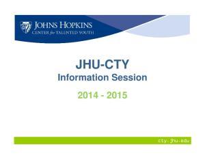 JHU-CTY Information Session cty.jhu.edu