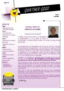 Jo Bailey MESSAGE FROM THE EXECUTIVE MANAGER