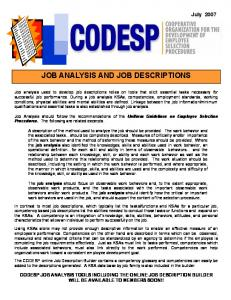 JOB ANALYSIS AND JOB DESCRIPTIONS
