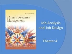 Job Analysis and Job Design. Chapter 4