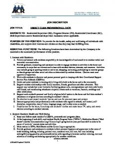 JOB DESCRIPTION DIRECT CARE PROFESSIONAL (DCP)