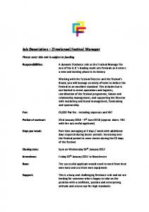 Job Description (Freelance) Festival Manager