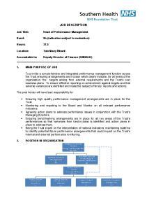 JOB DESCRIPTION. Head of Performance Management. 8b (indicative subject to evaluation) Hours: MAIN PURPOSE OF JOB